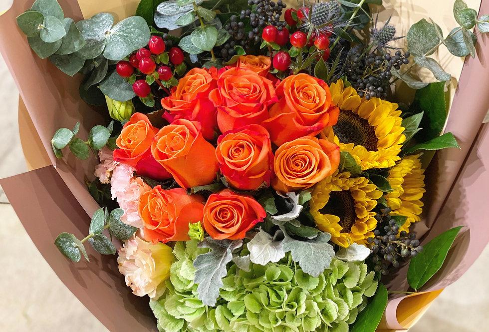 玫瑰向日葵花束