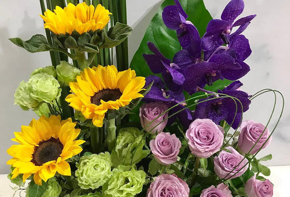 向日葵桔梗玫瑰萬代蘭枱花