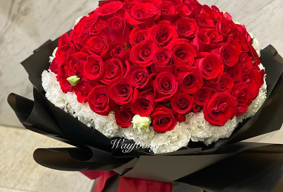 FOREVER 99枝紅玫瑰襯桔梗