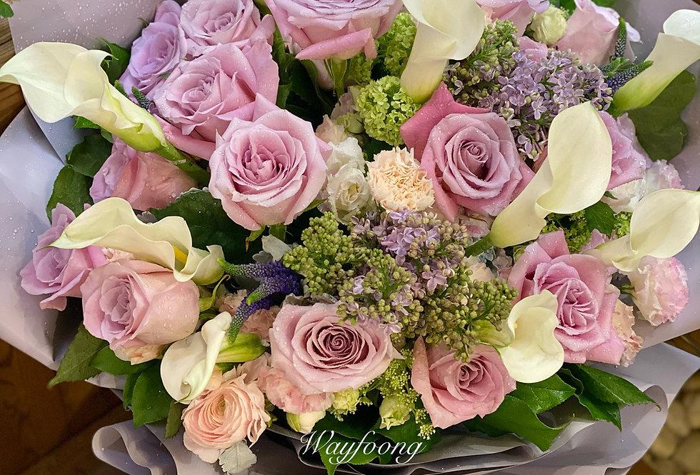 玫瑰馬蹄蘭花束