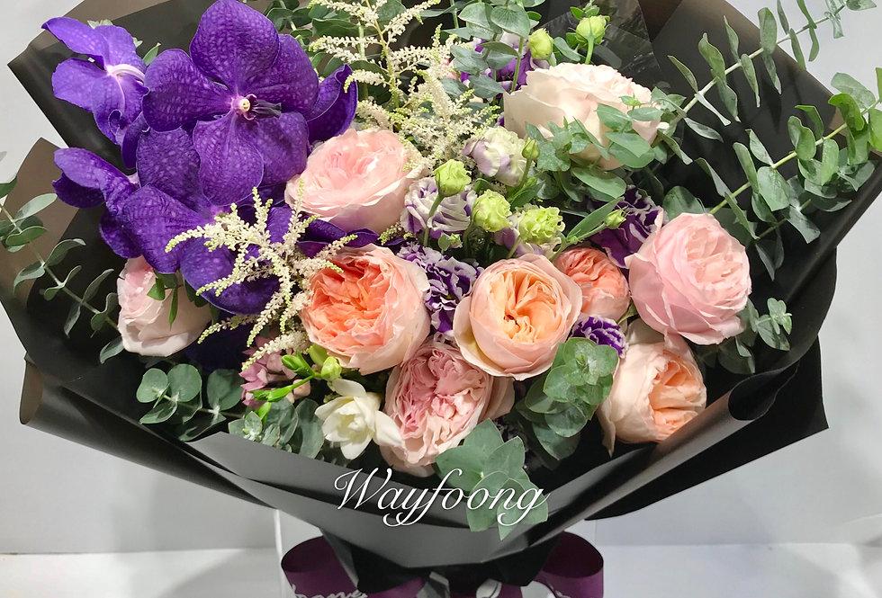 庭園玫瑰萬代蘭花束