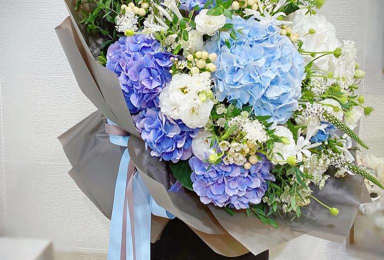 特大藍色系繡球花束
