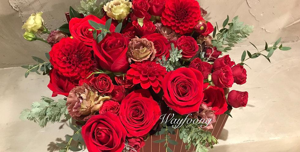 紅玫瑰花盒