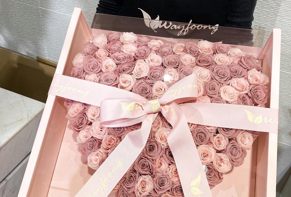 永生粉玫瑰大花盒