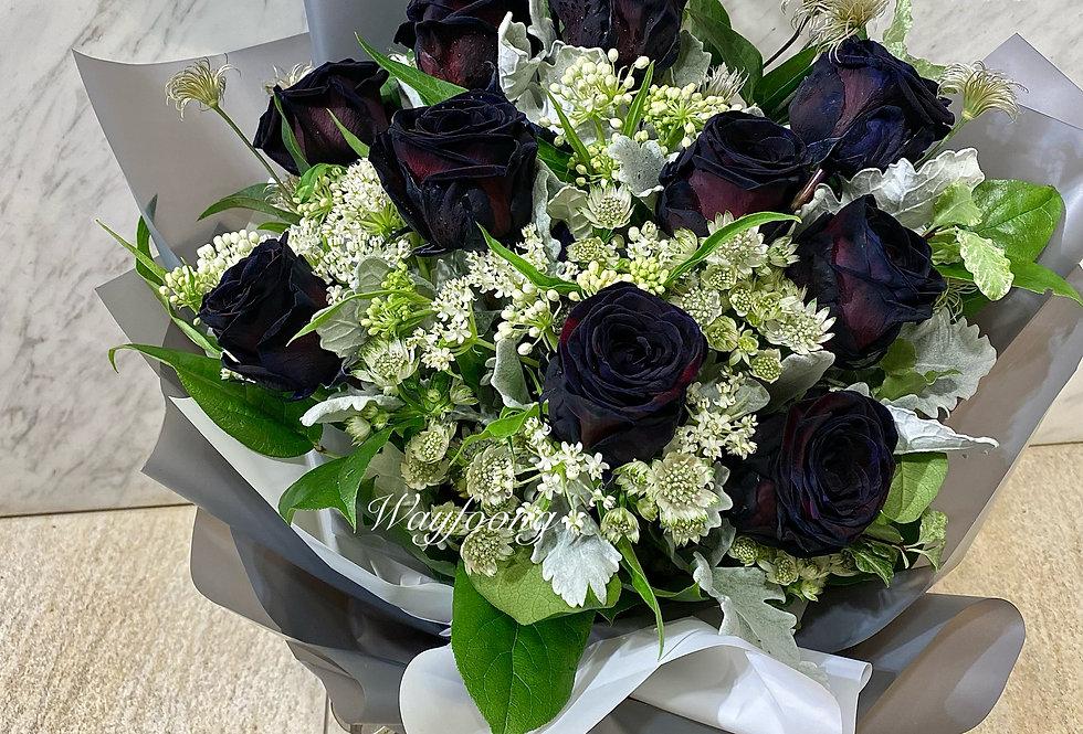 黑玫瑰花束