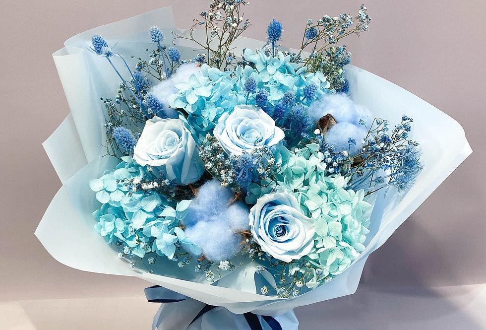 藍色系永生花花束