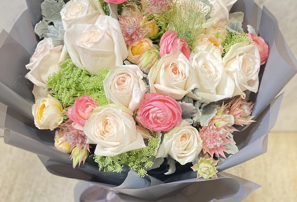White Ohara玫瑰花束