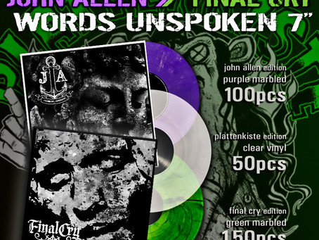 """FINAL CRY releases """"Words Unspoken"""" 7inch!"""