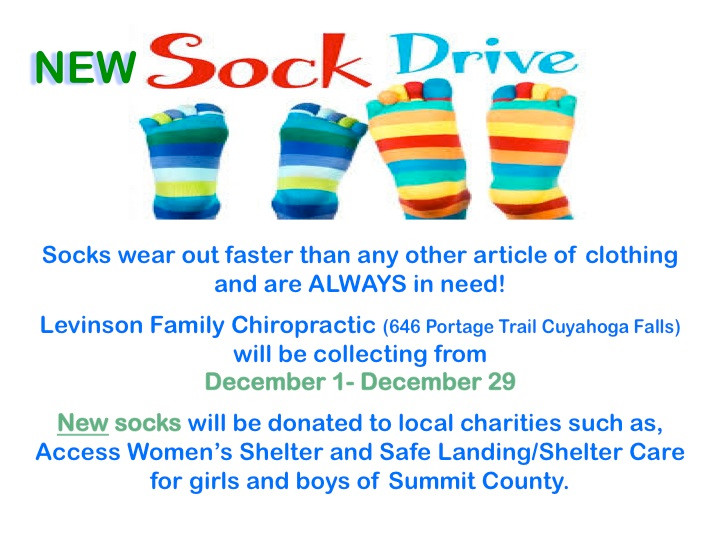 Collecting new socks through December 29th. Drop off to 646 Portage Trail, CFO