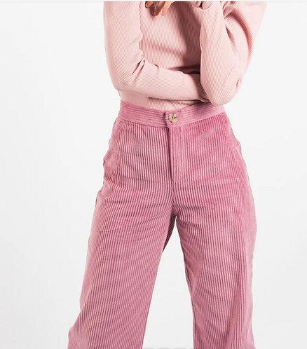 pantalon taille haute en velours côtelé