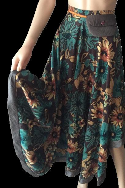 jupe ample pans assymétrique