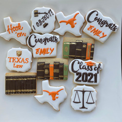 Longhorn Law Grad decorated cookies