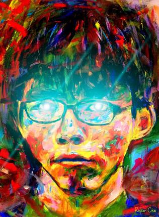 黃之鋒 - Joshua Wong - Bitcoin Laser Eyes