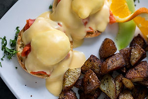 Lox Eggs Benedict, roasted potatos