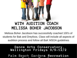 Bak Theatre Audition Prep in Wellington, Delray and Palm Beach Gardens Starting This Month!