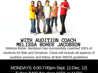 Arts Garage Presents Highly Successful Bak MSOA Theatre Audition Prep with Melissa Boher Jacobson Se