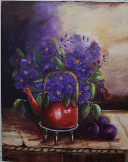 Floral Still Life with Red Teapot