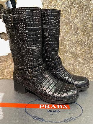 Prada Croc Embossed Boots size 37