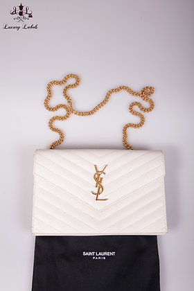 Saint Laurent Wallet on the Chain in cream white caviar leather