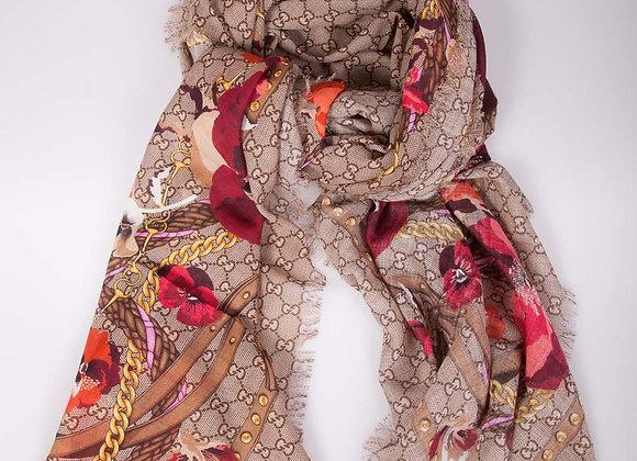 Gucci shawl w/red flowers (brand new w/tags)