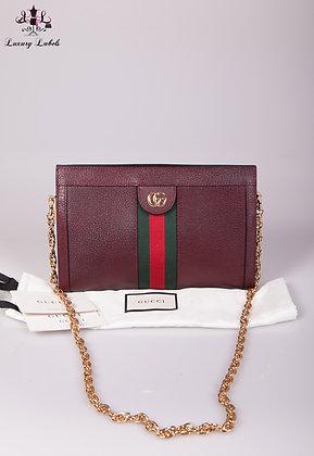 Gucci Ophidia Shoulder Bag BurgundyLeather with Gold-tone hardware