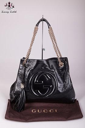 Gucci Medium Soho Black Patent Leather Hobo