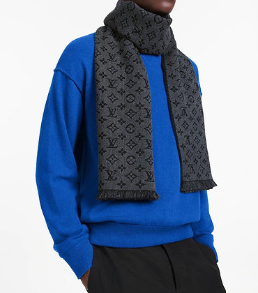 Louis Vuitton Mens Monogram Classic Charcoal Grey Scarf (brand new)