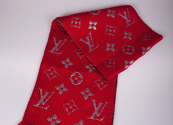 Louis Vuitton Red High Shine Logomania Scarf (brand new)
