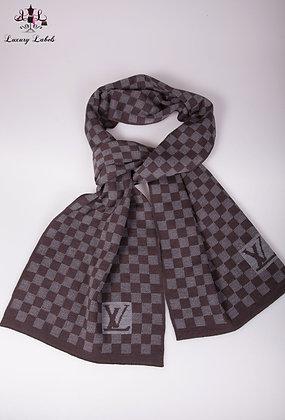 Louis Vuitton Grey/Brown Petit Damier Wool Scarf (Brand New)