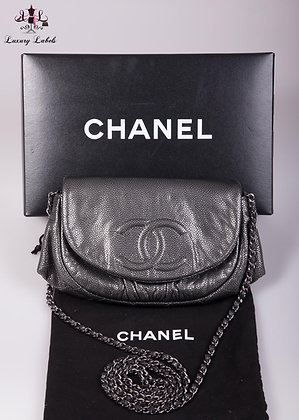 Chanel Half Moon WOC gunmetal caviar leather