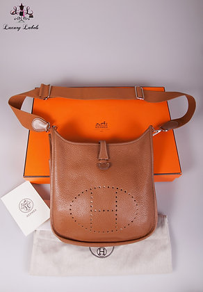 Hermes Evelyne 3 PM Gold Clemence Leather