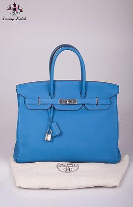 Hermes Birkin 35 Blue Izmir Clemence Leather