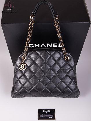 Chanel Aged Calfskin Large Just Mademoiselle Bowling Bag Black