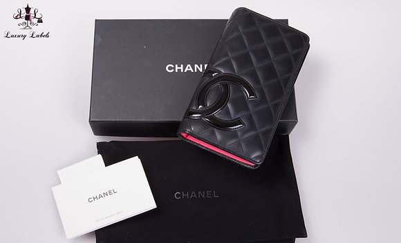 Chanel Cambon Bifold Long Wallet Black/Pink Lambskin