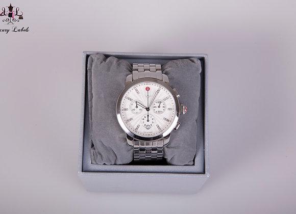Michele Michele Uptown Stainless Steel & Diamond Chronograph Watch