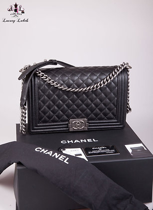 Chanel New Medium Boy Bag in Black Caviar Leather