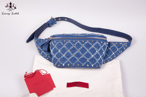 VALENTINO Indigo blue DENIM ROCKSTUD Belt Bag