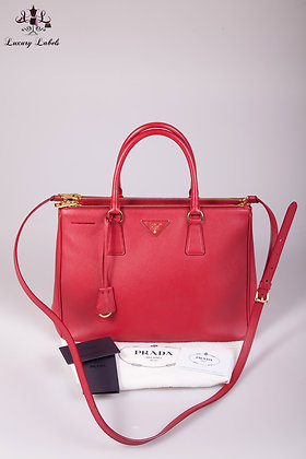 PRADA Fuoco Saffiano Lux Leather Double Zip Medium Tote Bag