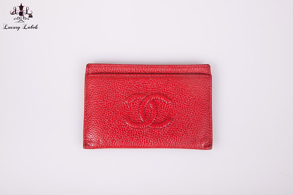 Chanel Red Caviar Leather Cardholder