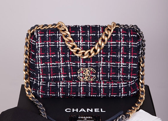 CHANEL Tweed Quilted Large Chanel 19 Flap Navy Blue White Red