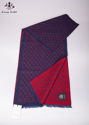 Gucci GG double sided Red/Navy wool scarf (brand new)
