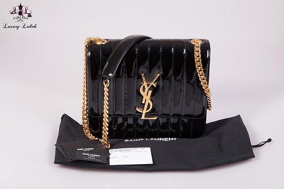 SAINT LAURENT Patent Matelasse Monogram Large Vicky Chain Bag Black