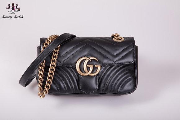 Gucci GG Marmont Black Leather matelassé mini shoulder/crossbody bag (New)