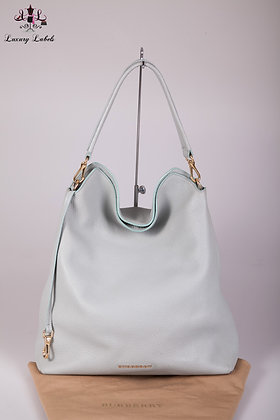 Burberry Medium Leather Hobo Bag - Sky Blue