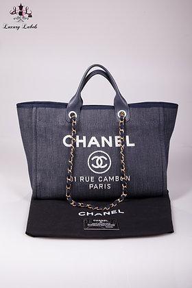 Chanel Deauville Dark Blue Denim Medium Tote