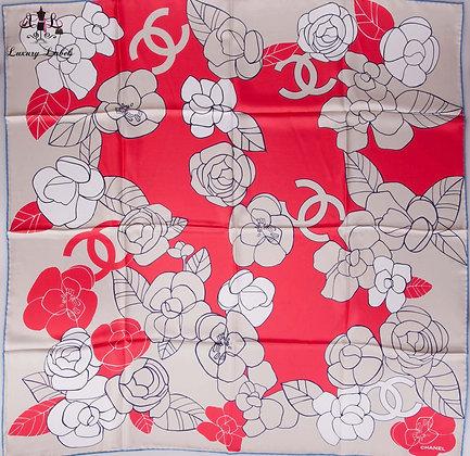 Chanel Camellia Silk Scarf (Brand New)