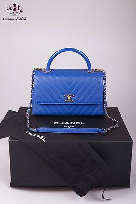Chanel Blue Caviar Chevron Leather Small Coco Handle Bag