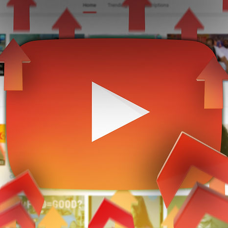 youtube logo with red arrows boosting upwards