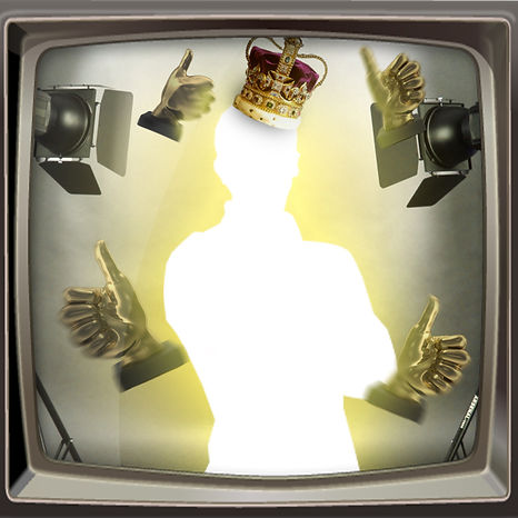 glowing person with crown and floating golden thumbs ups in retro tv