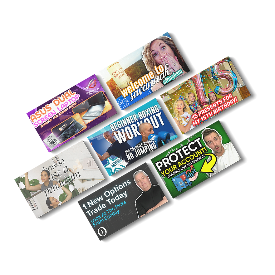 Multiple Creative Thumbnails with nathan bower, pete one option, korbs tradacc, the couch sisters, karin carr, tim ruscica, reese yes supply